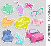 set of travel elements in patch ... | Shutterstock .eps vector #570926203