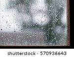 Drops On The Glass In Rainy Da...