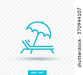 umbrella and sun lounger on the ... | Shutterstock .eps vector #570944107
