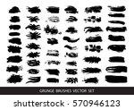 set of black paint  ink  grunge ... | Shutterstock .eps vector #570946123