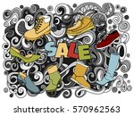 cartoon cute doodles hand drawn ... | Shutterstock .eps vector #570962563