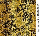 vector golden and black seaweed ... | Shutterstock .eps vector #570982813