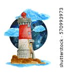 watercolor lighthouse... | Shutterstock . vector #570993973