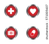 heart  pills  first aid kit and ... | Shutterstock .eps vector #571005607