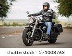 Biker Man With Motorcycle