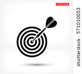 flat target with dart  . icon.... | Shutterstock .eps vector #571010053