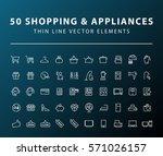 set of 50 minimal thin line... | Shutterstock .eps vector #571026157