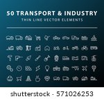 set of 50 minimal thin line... | Shutterstock .eps vector #571026253