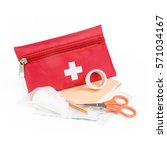 first aid red bag isolated on... | Shutterstock . vector #571034167