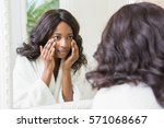 reflection of woman checking... | Shutterstock . vector #571068667