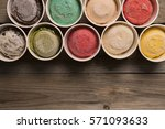 top view ice cream flavors in... | Shutterstock . vector #571093633