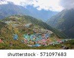 namche bazar in everest region | Shutterstock . vector #571097683
