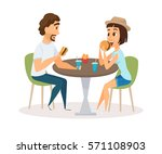 happy couple eating fast food... | Shutterstock .eps vector #571108903