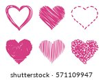 vector hearts set. hand drawn | Shutterstock .eps vector #571109947