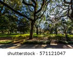 a warm day at forsyth park in... | Shutterstock . vector #571121047