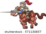 jousting knight riding a horse. ... | Shutterstock .eps vector #571130857