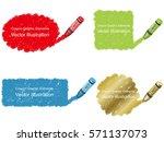 a set of vector crayon daub... | Shutterstock .eps vector #571137073