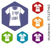 t shirt i love lgbt icons set... | Shutterstock .eps vector #571137463