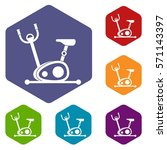 exercise bike icons set rhombus ... | Shutterstock .eps vector #571143397