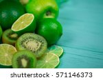 Mix Of Fresh Green Fruits On...