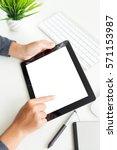 hand using digital tablet on... | Shutterstock . vector #571153987