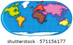 world atlas with seven... | Shutterstock .eps vector #571156177
