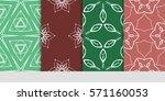 set of color floral  linear... | Shutterstock .eps vector #571160053