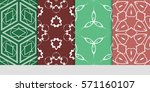 set of color floral  linear... | Shutterstock .eps vector #571160107