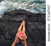 Woman Eat Watermelon On Beach....