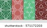 set of color floral  linear... | Shutterstock .eps vector #571172203