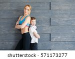 fitness mother with her 9 years ...   Shutterstock . vector #571173277
