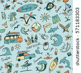 surfing seamless pattern ... | Shutterstock .eps vector #571183303