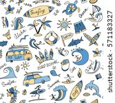 surfing seamless pattern ... | Shutterstock .eps vector #571183327