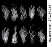 smoke set isolated on black... | Shutterstock . vector #571193263