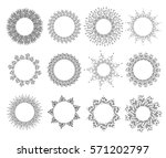 vector set of black sunbursts... | Shutterstock .eps vector #571202797