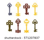 vintage old retro key vector... | Shutterstock .eps vector #571207837