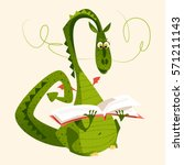 dragon sitting and reading a... | Shutterstock .eps vector #571211143