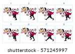 animation of a funny cartoon... | Shutterstock .eps vector #571245997