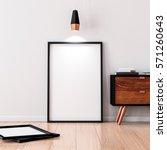 black frame poster mockup... | Shutterstock . vector #571260643