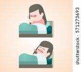 sick child girl lying in bed... | Shutterstock .eps vector #571273693