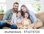 portrait of parents and kids... | Shutterstock . vector #571273723