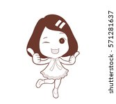 happy cute girl thumb up with...   Shutterstock .eps vector #571281637