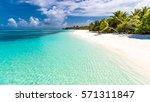 maldives perfect paradise beach ... | Shutterstock . vector #571311847