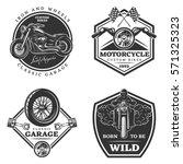Set Of Motorcycle Monochrome...