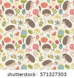 seamless pattern forest with... | Shutterstock .eps vector #571327303