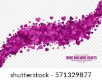 abstract vector 3d hearts on... | Shutterstock .eps vector #571329877