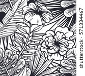 vector black and white tropical ... | Shutterstock .eps vector #571334467