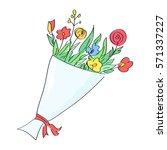 hand drawn flower bouquet | Shutterstock .eps vector #571337227