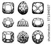 diamond symbols. black gems...   Shutterstock .eps vector #571344037
