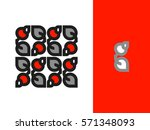 ornament of branch with berry... | Shutterstock .eps vector #571348093